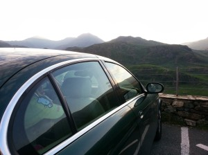 Looking out over Snowdonia. Jaguar S-Type 2.5 perfect for the journey.